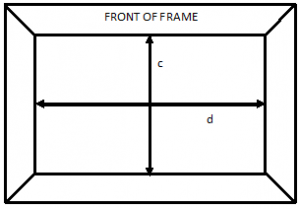 View of front of frame (c) frame opening width (d) frame opening length
