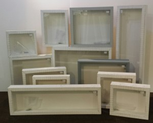 Box frames created from reclaimed timber with a distressed paint finish